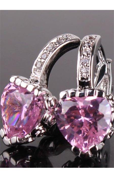 Auskarai su rožiniais kristalais