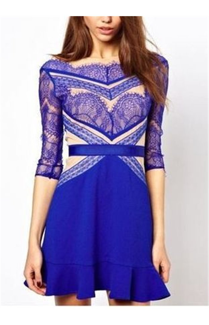 Mėlyna elegantiška suknelė