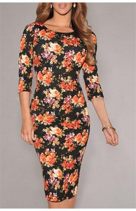 Gėlėta ilga suknelė