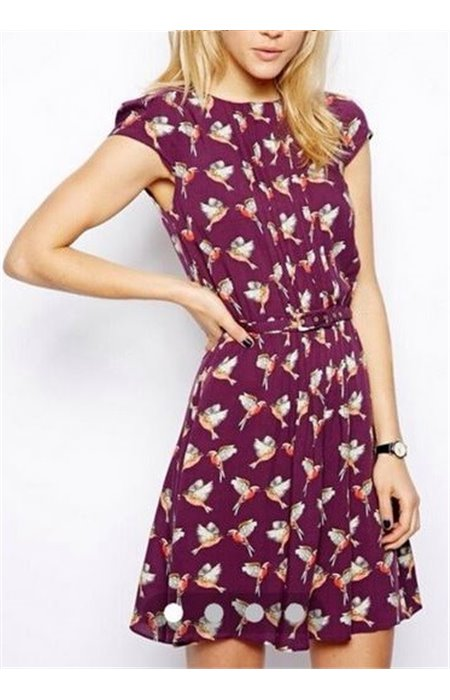 Suknelė puošta paukšteliais