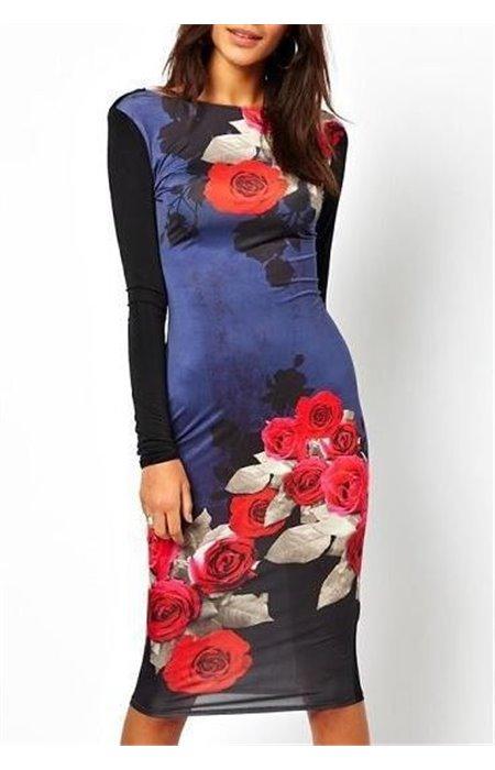 Gėlėta tampri suknelė