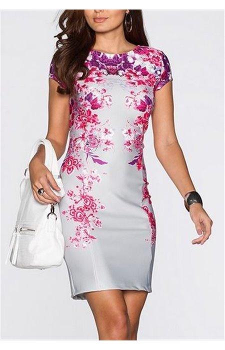 Gėlėta klasikinė suknelė