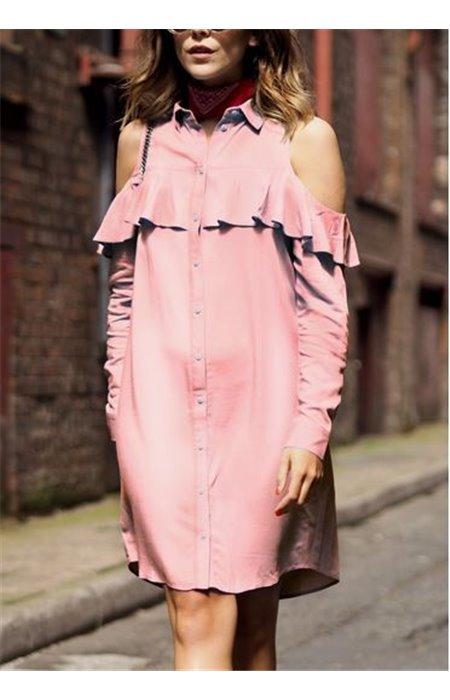Marškinių Tipo Suknelė Atvirais Pečiais