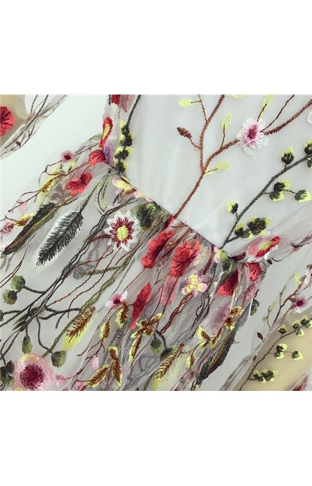 Gėlėmis Siuvinėta Suknelė