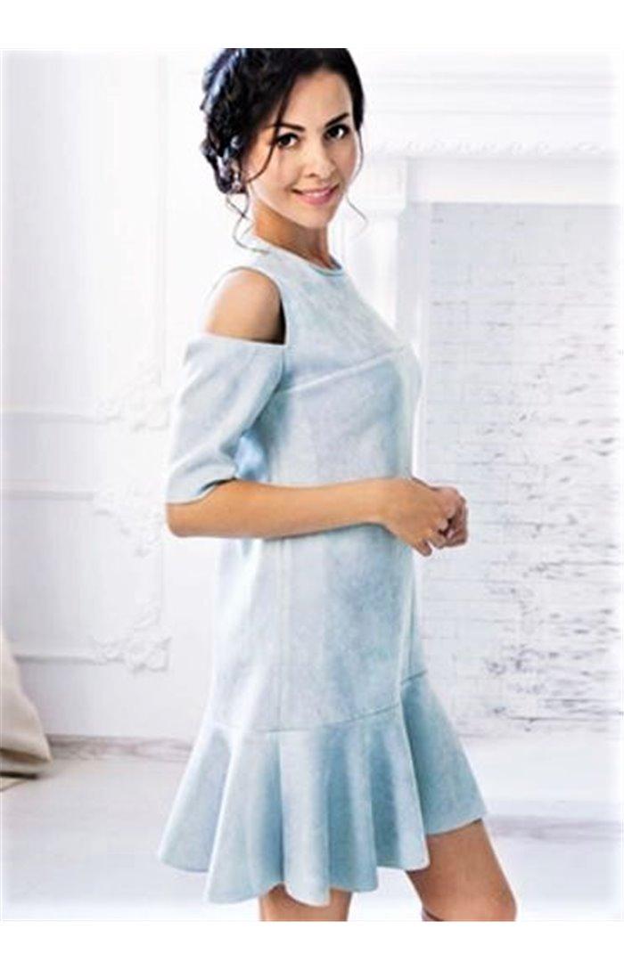 Zomšinė Suknelė Atvirais Pečiais
