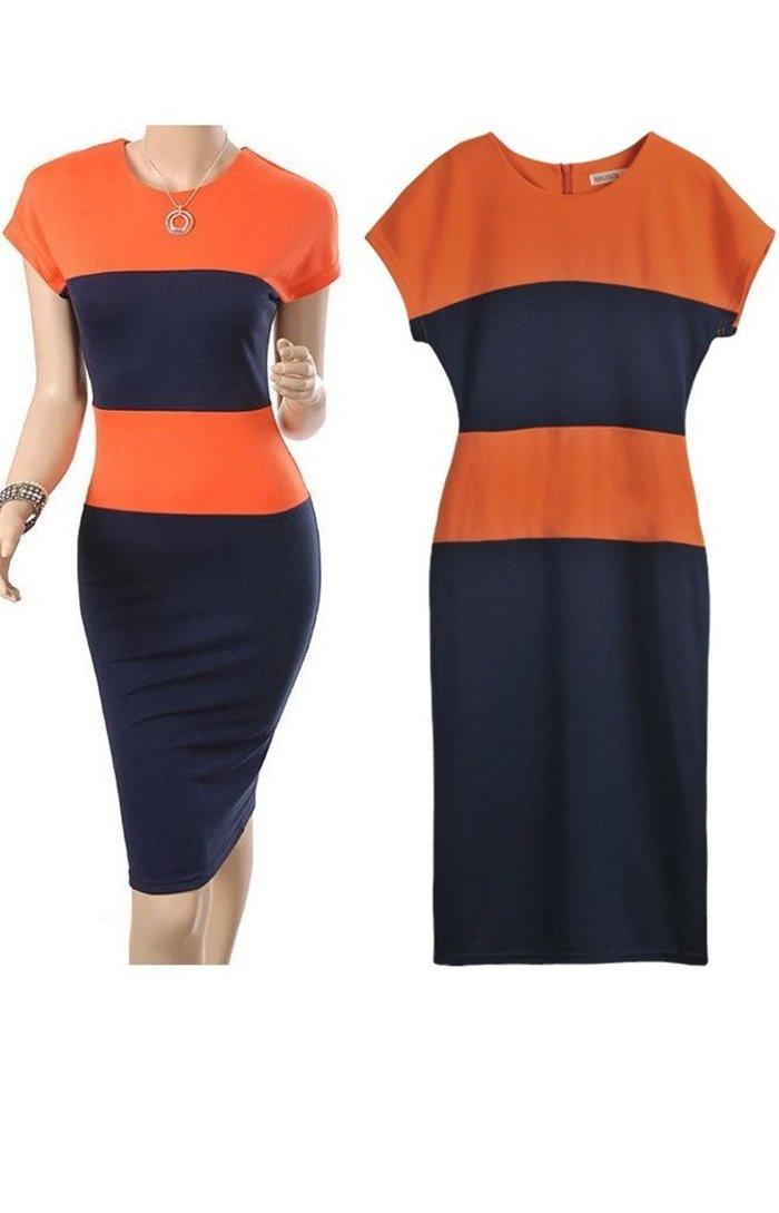 Dviejų spalvų suknelė