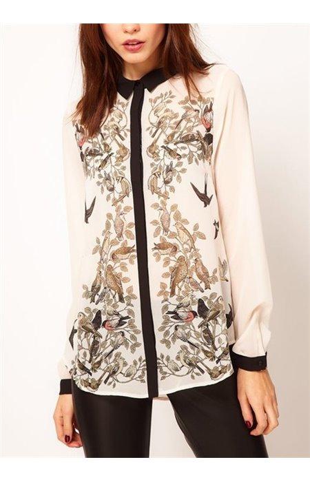Stilingi marškiniai su paukščiais