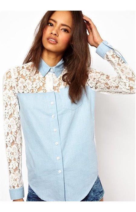 Marškiniai su nėriniais