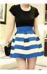 Dryžuotas sijonas tampriu juosmeniu